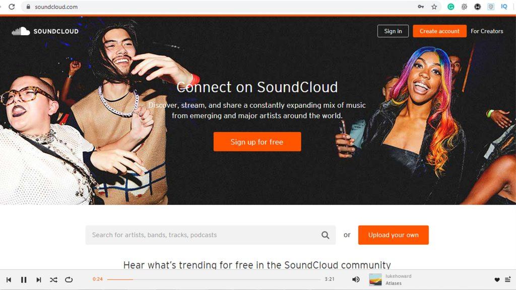 logged into SoundCloud